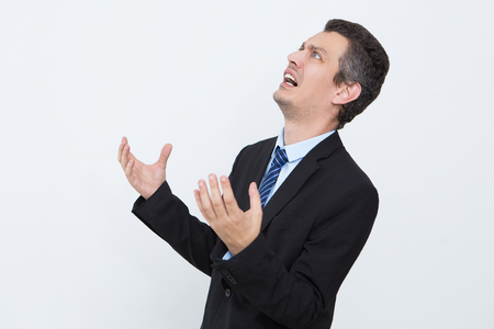 Frustrated businessman shocked with news Stock Photo