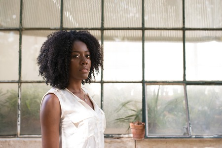 african business: Portrait of serious African-American woman indoors Stock Photo