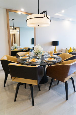 Dining table setting for dinner party at home