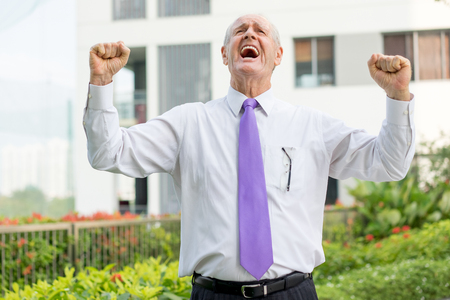 Happy Senior Businessman Raising Fists in Success