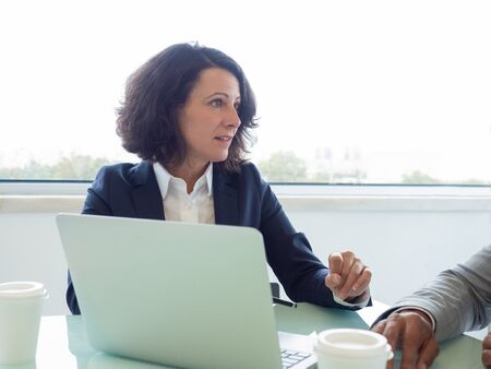 Serious female manager explaining project details to partner during meeting. Business woman sitting at meeting table, looking away and speaking. Effective manager concept Stockfoto