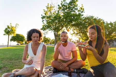 Group of closed friends enjoying dinner in park. Man and women sitting on plaid around pizza and bottles of beer, taking slices from box and eating. Takeaway dinner concept 版權商用圖片 - 129174964