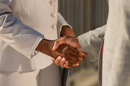 Businessman shaking hands with African American female colleague. Closeup of business people handshake. Cooperation concept
