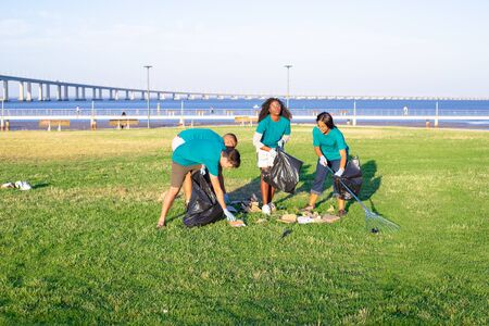 Group of volunteers cleaning city lawn near river. Young men and women gathering litter with rakes, picking up trash into plastic bags. Garbage removal concept