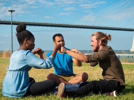 Diverse group of friends making gesture of unity. Multiethnic men and woman sitting on grass, holding hands and talking. Friendship and unity concept 写真素材