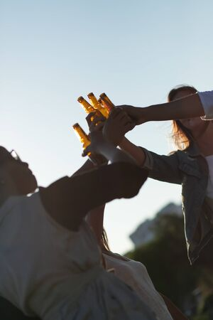 Relaxed young people clinking beer bottles in park. Smiling friends standing on meadow with beer. Leisure concept