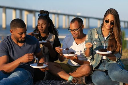 Happy young people eating delicious cake during picnic. Group of friends spending time together at park. Leisure concept Фото со стока