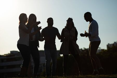 Friends enjoying outdoor party at sunset. Silhouettes of multiethnic men and women drinking beer and dancing on grass. Party at sunset concept