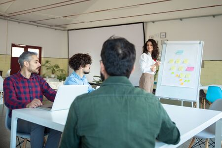 Smiling young woman explaining strategy to coworkers. Confident businesswoman standing near board with flowchart made from sticky notes. Business strategy concept