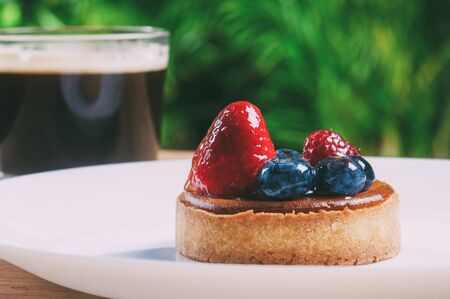Closeup of beautiful mini tart with berries and cup of coffee. Delicious pastry with strawberries and blueberries on plate on table with blurred green view in background. Breakfast concept.