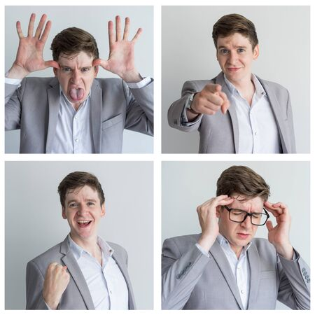 Funny business leader portrait set with different facial expressions. Joyful, stressed, crazy man in office suit studio shot collage. Multiscreen montage, split screen collage. Emotions concept