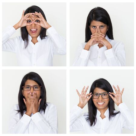 Indian office employee portrait set with different gestures and facial expressions. Positive, pensive, shocked woman studio shot collage. Multiscreen montage, split screen collage. Emotions concept