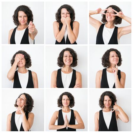 Positive middle aged woman portrait set with different hand gestures and emotions. Curly haired lady in casual studio shot collage. Multiscreen montage, split screen collage. Emotions concept