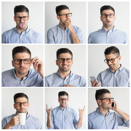 Young man in glasses portrait set with different hand gestures and facial expressions. Funny guy in grey shirt studio shot collage. Multiscreen montage, split screen collage. Emotions concept