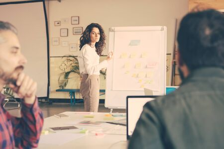 Team leader presenting flowchart on board to coworkers. Business colleagues in casual working together in contemporary office space. Organization concept