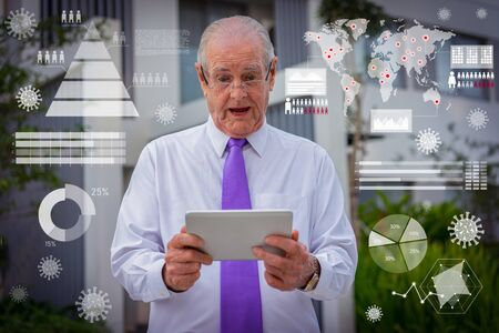 Surprised senior man in white shirt, tie and glasses looking at tablet screen outdoors. Old businessman shocked with virus spread geography virtual chart. Epidemic and risk concept
