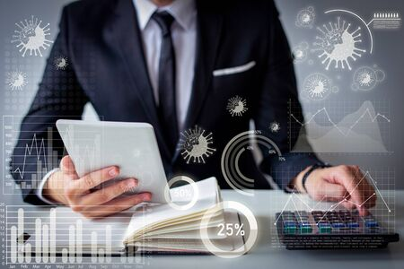 Virtual disease statistics and financier analyzing profit. Closeup of businessman using calculator, tablet and notebook. Finance management concept