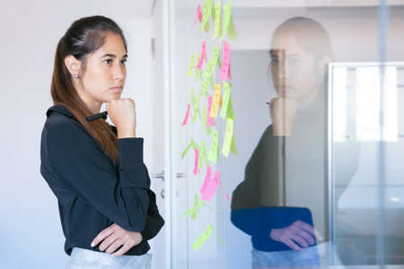 Thoughtful Latin businesswoman holding marker and reading notes on glass wall. Focused confident pretty female worker in suit thinking about idea for project. Brainstorming and business concept