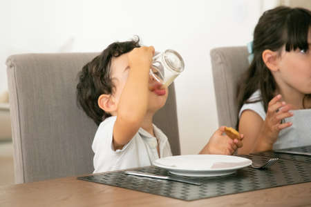 Lovely little boy drinking juice and holding cookie at kitchen. Adorable children sitting at table with delicious biscuits on plates. Pastry, childhood and dessert concept