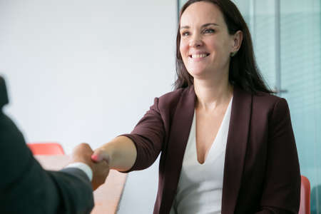 Beautiful Caucasian businesswoman handshaking and smiling. Successful brunette long-haired woman in suit sitting and greeting unrecognizable partner. Business, company and teamwork concept