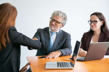 Red-haired businesswoman greeting bearded colleague. Professional successful businesspeople talking about work, sitting at table with laptops and meeting. Business and management concept