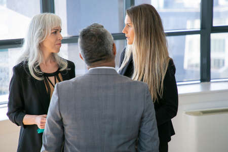 Female managers talking to male boss, standing in office, discussing project. Medium shot, back view. Business communication or briefing concept