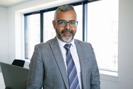 Content Indian CEO standing and smiling for portrait. Successful pensive bearded businessman in glasses posing in office room and looking at camera. Business, expression and management concept 免版税图像