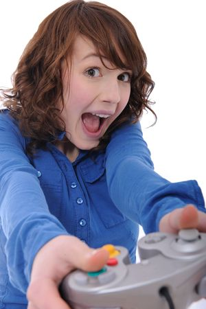 cute teenage girl playing playstation photo