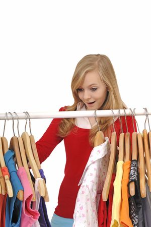 teenage girl shopping for clothes Stock Photo - 5458414