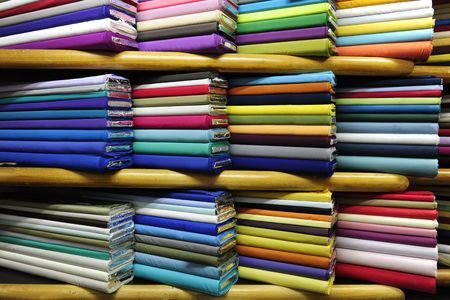 textile industry: Colorful fabrics on sale