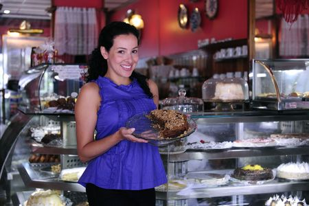 owner: proud and confident owner of a cafe pastry shop Stock Photo