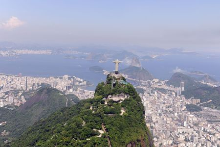 Aerial view of Christ Redeemer and Sugarloaf in Rio de Janeiro photo