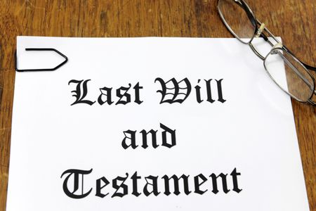 inherit: Last Will and Testament on a wooden desk