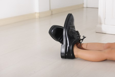 fills: Corporate succession: child with father�s tie and shoes with copy space