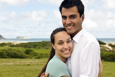 portait of a happy hispanic couple smiling outdoors Stock Photo - 8379238