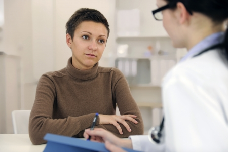clinical psychology: Psychologist and depressed patient at office during consultation  Stock Photo