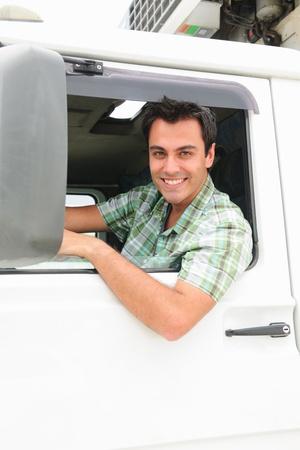 lorry: ritratto di un camionista felice Archivio Fotografico