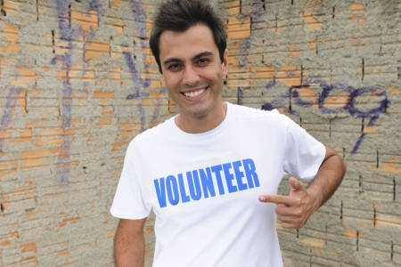 portrait of a happy male volunteer photo