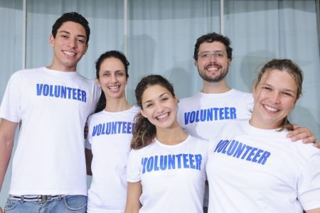 charitable: portrait of a happy and diverse volunteer group
