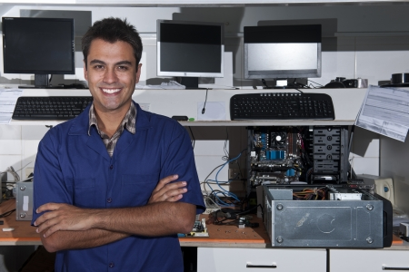 repairmen: Small business:  owner of a computer repair store