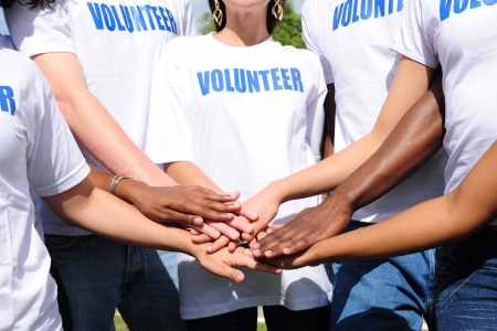 diverse hands: multi-ethnic volunteer group hands together showing unity
