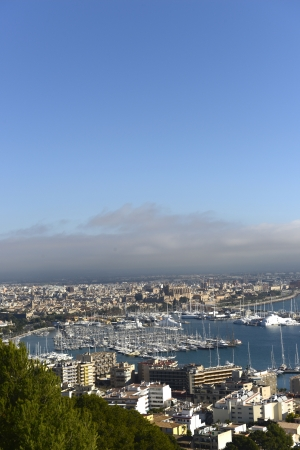 Palma de Mallorca:View of harbour and cathedral from bellver castle photo
