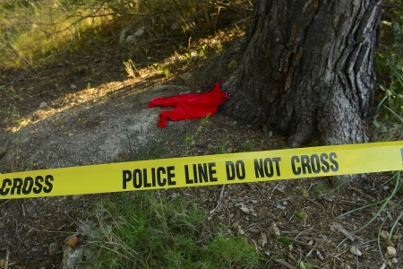scene of a crime: Crime scene: Police line do not cross tape and romper suit as evidence