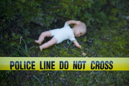 background csi: Crime scene in the forest: Yellow police line do not cross tape and doll