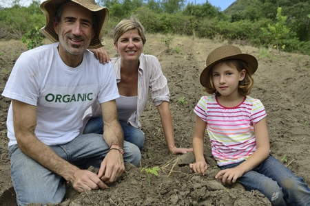 Agriculture or growth: Family of organic farmers planting seedling photo