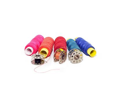 darning needle: sewing thread on white background Stock Photo