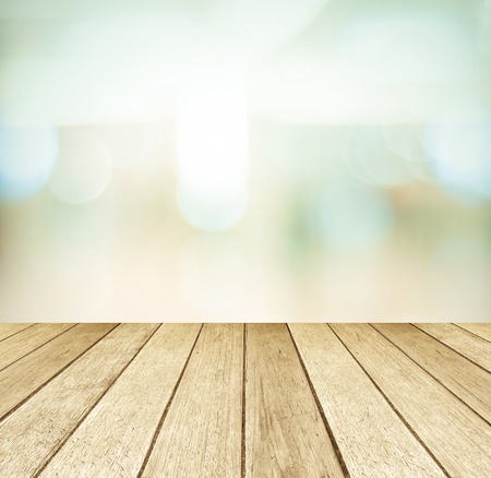 wood shelf: Perspective wood and blurred store with bokeh background Stock Photo