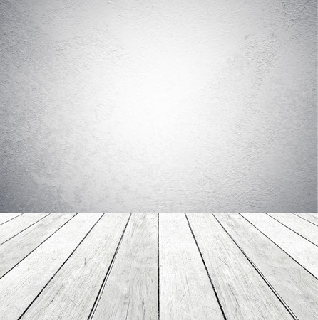 Cement wall and old wood floor, empty perspective room, grunge background