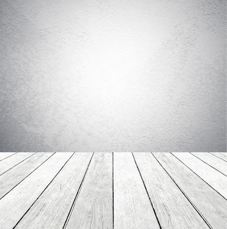 Cement Wand und alten Holzboden, leere Perspektive Zimmer, Grunge Hintergrund Standard-Bild - 37888531