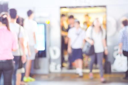 blur subway: Blur crowded subway passengers background, transportation